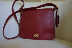 Vintage Coach Red Shoulder Purse by TheAdventurersLegacy on Etsy