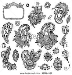black line art ornate flower design collection, ukrainian ethnic style, autotrace of hand drawing - stock vector