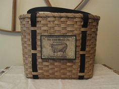 Rug Hooking Tote Basket Handwoven via Etsy