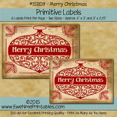 Instant Download  Digital Label Sheet -   Merry Christmas by ewenmeprintables