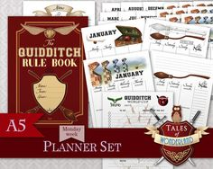 Quidditch A5 Printable Planner Set inspired by Tales of Wonderland, inspired by Harry Potter. Weekly, Monthly, Daily, notes pages.