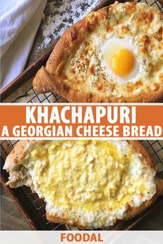 Khachapuri, a cheesy bread topped with an egg, is a popular dish from Georgia that's shared and eaten by hand. Learn how to make it now on Foodal. Cheesy Bread Recipe, Best Homemade Bread Recipe, Cheese Pastry, Cheese Bread, Egg Recipes, Bread Recipes, Weekly Recipes, Cheese Recipes, Khachapuri Recipe