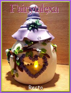 Casitas candelabros en porcelana fria paso a paso para regalar | Todas las imágenes