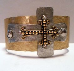 Junk Gypsy Style Hammered Cuff with Gold and Silver by kiki6462, $30.00