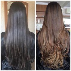 Brunette Balayage for Thick Hair - 50 Cute Long Layered Haircuts with Bangs 2019 - The Trending Hairstyle Long Layered Haircuts, Haircuts For Long Hair, Long Hair Cuts, Brown Hair Balayage, Brown Blonde Hair, Ombre Hair, Long Brunette Hair, Natural Hair Styles, Long Hair Styles