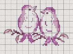 two birds on a branch free cross stitch pattern Mini Cross Stitch, Cross Stitch Animals, Cross Stitch Charts, Cross Stitch Designs, Cross Stitch Patterns, Cross Stitching, Cross Stitch Embroidery, Embroidery Patterns, Hand Embroidery