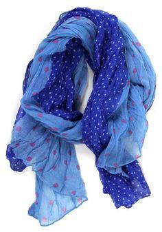 on the dot crinkle scarf: cobalt
