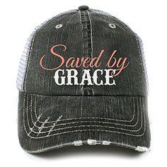 9e26a551ca70b Katydid Saved by Grace Christian Women s Adult Trucker Hat Cap by Katydid