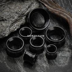 A Pair of Black Onyx Stone Double Flared Eyelet Plug