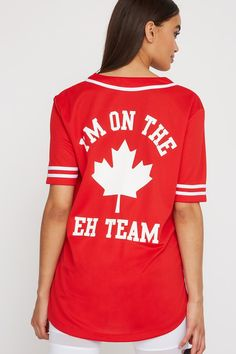 Urban Planet Women, Join the eh team and celebrate Canada Day in this graphic baseball jersey. Features knit mesh fabric, button-up closure, varsity striped short sleeves, contrast piping and oversized fit. Canada Day Shirts, Urban Planet, Baseball Jerseys, Striped Shorts, Mesh Fabric, Contrast, Short Sleeves, Celebrities, T Shirt