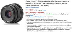 New Zonlai 22mm f/1.8 for MFT on sale at Amazon  If you need a cheap manual focusing lens you got a new option: The Zonlai 22mm f/1.8 is now on sale on Amazon US in both Black finish (Click here) or Silver finish (Click here). It is also listed oin  The post New Zonlai 22mm f/1.8 for MFT on sale at Amazon appeared first on 43 Rumors.