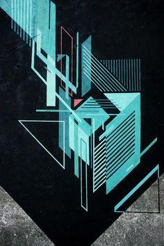 Abstract Street Art Mural By Seikon In Parchowo, Poland - Close Up Cool Wallpaper, Wallpaper Backgrounds, Wallpapers, Deconstructivism, Whatsapp Wallpaper, Tech Art, Best Street Art, Composition Design, Mural Art