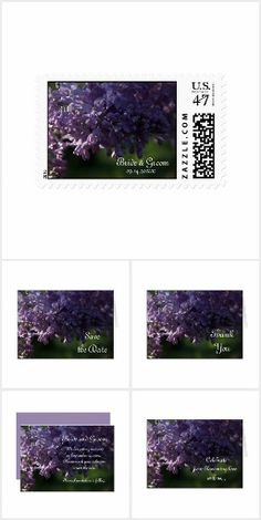 Purple Lilacs Wedding Stationery Set the tone for your natural garden theme nuptials with the pretty Purple Lilacs Wedding Stationery Collection. Choose from customizable marriage invitations, save the date announcements, thank you notes, photo cards and postage stamps. Each flowers wedding paper product features a floral photograph of purple lilac flower blossoms on the tree with a hint of morning sunlight. #lilacwedding #purplewedding
