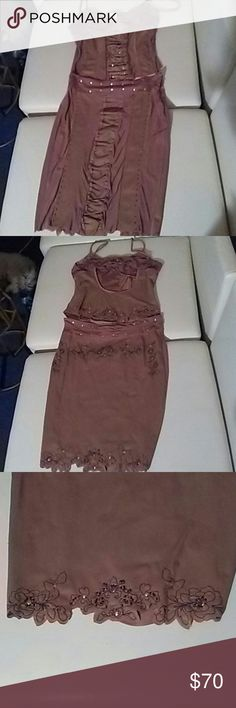 Selling this Marciano top and skirt gold studs embroidery flowr on Poshmark! My username is: guyzog. #shopmycloset #poshmark #fashion #shopping #style #forsale #Marciano #Dresses & Skirts
