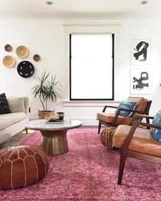 Vintage Decor Living Room - Made of goat skin leather, our Moroccan Pouf looks like a piece found in a far-off marketplace. It's a stylish way to add extra seating to any room. Living Room Plan, Living Room Storage, Living Room Remodel, Cozy Living Rooms, Living Room Designs, Living Room Decor, Living Spaces, Dining Room, Morrocan Decor