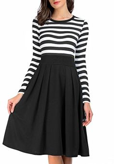 AAMILIFE Women s Long Sleeve Navy Style Vintage Stripe Scoop Neck Casual  Swing Dress Black S 3a392324a