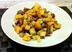 Sweet and Savory Roasted Butternut Squash Stuffing with Sausage and Cranberries from FemFusion Fitness http://femfusionfitness.com/