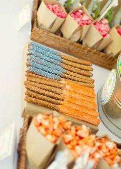 colorful snacks - pretzel dips