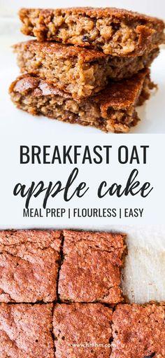 Healthy Oatmeal Breakfast, Vegetarian Breakfast Recipes, Breakfast Cake, Apple Breakfast, Meal Prep Breakfast, Healthy Sweets, Healthy Baking, Healthy Snacks, Healthy Apple Desserts