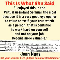 Here's Joan Nuas, a VA seminar attendee, telling her most enjoyable experience in the seminar.