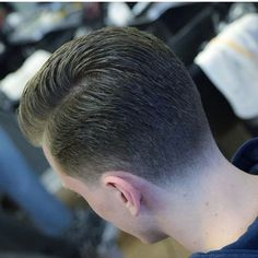 Naturally parted hair with a tapered back and slightly tapered sideburns as well. Such a classic look right here and one of my favorite cuts to do. Thin Hair Haircuts, Hairstyles Haircuts, Haircuts For Men, Short Hair Cuts, Short Hair Styles, Barber Haircuts, Taper Fade Haircut, Tapered Haircut, Trending Hairstyles For Men