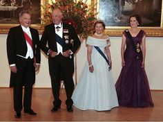 Queen Sonja and King Harald of Norway and Finland`s President Sauli Niinistö and his wife Jenni Haukio