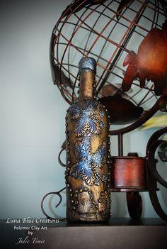 Hand stamped Textured Polymer Clay Wine Bottle by LunaBlueGifts