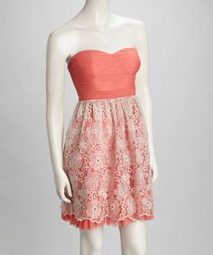 Take a look at this Pink Lace Sweetheart Strapless Dress by Minuet on #zulily today! $34.99, regular 86.00