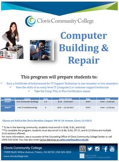 There's still time to enroll in Computer Building & Repair! View other open classes through the links below.  Open classes at main campus: http://onlineforms.scccd.edu/ocl/CCC_FALL.pdf   Open classes at the Herndon campus: http://onlineforms.scccd.edu/ocl/CHC_FALL.pdf