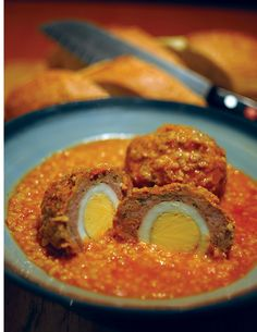 This is a traditional Assyrian dish known to most Assyrian households. It is great on cold winter evenings with some fresh crusty bread or pita bread. Each meatball has a hard boiled egg inside and the thick soup base is a mixture of tomato and cracked wheat.