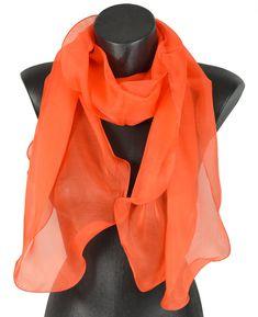 0c0bff20718 Foulard soie bords ondulés orange