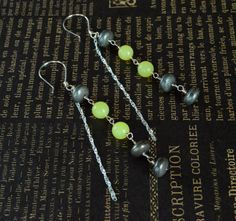 Lemon Jade & Pyrite Sterling Silver Long Dangle Earrings with Twisted Chain Accents - Handcrafted Earring Hooks - Adrienne Adelle