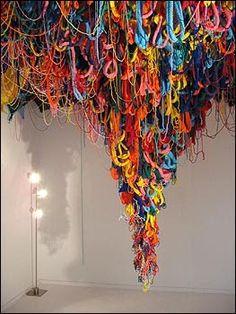 Knitted Wool Installation by Lauren Mullarkey        Textile Installation by Shane Waltner