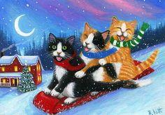 Diamond Painting Ski Cat Winter Paint with Diamonds Art Crystal Craft Decor Christmas Scenes, Christmas Animals, Christmas Cats, Illustration Noel, Christmas Illustration, Illustrations, I Love Cats, Crazy Cats, Cool Cats