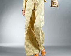 Pantaloni di lino per le donne / Palazzo Pants / gamba larga pantaloni / giallo pantaloni / pantaloni per le donne / gamba larga pantaloni per le donne / donne lino pantaloni