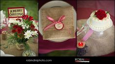 Christmas Tree Farm Wedding, burlap, gingham ribbon, country wedding, wedding cake, place setting, red carnations, vintage christmas cards, wood candles, wedding photography