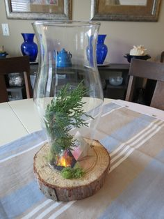 Camping themed centerpiece on a budget.   Glass Hurricane, Log slice, campfire ring-rocks, battery tea-lights, crinkled cellophane on top, moss, tree branch and tent.