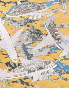 成田国際空港第1 ターミナル南ウィング4 階 壁画の為の原画より「成田国際空港 飛行機百珍圖」/2005/紙にペン、水彩