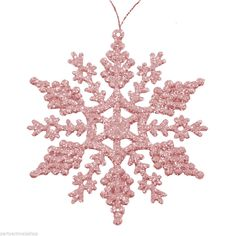 6 Christmas Hanging Blush PINK Glitter Sparkle Snowflakes Tree Decorations PA #Christmas