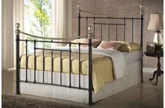 https://www.corstorphinebedcentre.co.uk/collections/beds/products/bronte-double-metal-bed-frame-135cm  -  The Bed Shop. Refined Victorian style constructed from steel and features a sprung slatted base to give a natural bounce, adjusting to pressure. The maximum weight load for this frame is 250 kg. Dimensions: Headboard height: 147cm Footboard Height:117cm Width: 146.5cm Length: 202.1