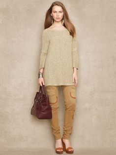 Crafted from a luxe airy linen blend this relaxedfitting pullover features a textured loosely knit design and a stylish bateau neckline. #Fashion  #RalphLauren