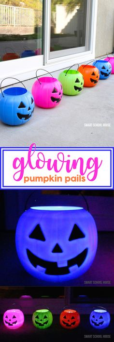 Glowing Pumpkin Pails - Decorate for Halloween in 30 seconds by setting out these glowing pumpkin pails! I got the colorful pumpkins for one dollar. They are SO ADORABLE!