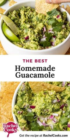 Learn how to make homemade guacamole. Why not make your own? It's easy and so fresh-tasting, and you can make this recipe just how you like it best. Creamy or slightly chunky, spicy or not so much, how do you love this wonderfully green delight? I can't say enough about guacamole, it's one of my favorite foods. I love the taste, the texture, the color, the smell — everything about guacamole makes me happy. Grab some tortilla chips and whip up this tasty appetizer. How To Make Guacamole, Homemade Guacamole, Guacamole Recipe, Avocado Recipes, Best Chili Recipe, Chili Recipes, Mexican Food Recipes, Ethnic Recipes, Yummy Appetizers