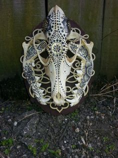 Handpainted Coyote Skull on Wooden Mount by BoneZnWood on Etsy, $200.00