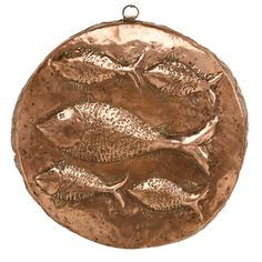 Old Copper Fish Decorated Food or Terrine Mold with Zinc Lining