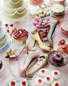Marie Antoinette Party Tables With Fans, Macaroons, Masks, Shoes, And Cupcakes