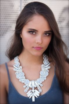 Tribal SciFi Statement Necklace Silver & Ivory by DolorisPetunia, $405.00