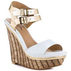 Flaunt your fashion sense in the Strut all season long. This MIA sandal features a white and gold synthetic upper with double ankle straps. A woven 5 inch wedge and 1 inch platform is covered in a woven raffia. Wedge Sandals, Wedge Shoes, Shoe Nails, Women Oxford Shoes, All About Shoes, Pretty Shoes, Hot Shoes, The Struts, Ankle Straps