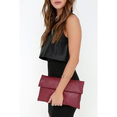 Roller Coast to Coast Wine Red Clutch ($31) ❤ liked on Polyvore featuring bags, handbags, clutches, red, vegan handbags, party clutches, red purse, red clutches and shoulder strap purses