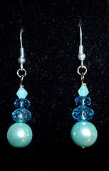 Blue pearls with crystals